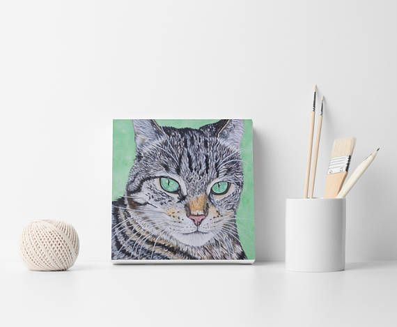 Cat portrait painting Custom Cat Painting Custom Pet Painting