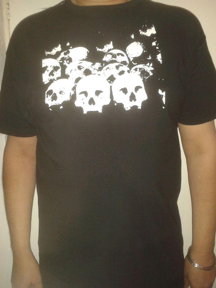 Black Gothic Short/Long Sleeved T shirt Top Rack of Skulls design