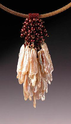 "Kay Bonitz - 'KBZ 545 Fresh Water Pearls, Japanese delica and seed beads, g/f wire w/ Vermeil 16"" cable' - Red Sky Gallery"