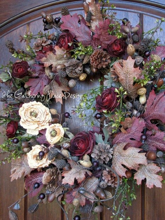 Lovely warm colors in this fall wreath Etsy.com