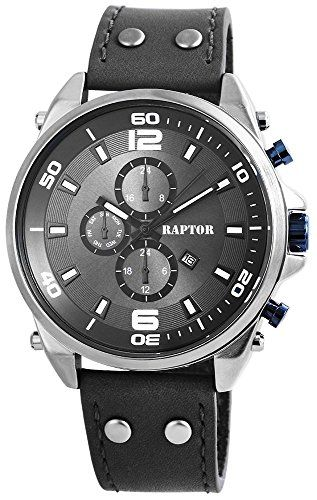 Raptor Analog Herrenuhr, Echtleder, Ø 50 mm, Anthrazit Grau - 297991600054 - http://uhr.haus/raptor/raptor-herrenuhr-echtleder-armanduhr-50mm-in-3