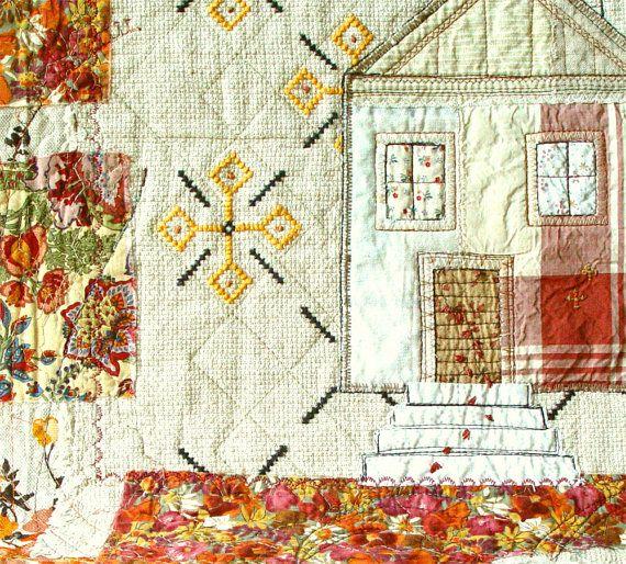 AUTUMN HOME Art Quilt Textile Wallhanging Home by BozenaWojtaszek, $220.00Rustic House, Folk Art, Hands Embroidery, Autumn Home, Art Quilt, Textiles Art, Rustic Cottages, Beads Appliques, Textiles Wallhangings