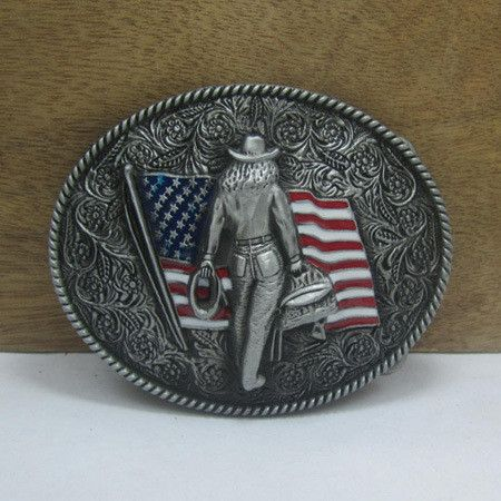 American Flag Cowgirl Belt Buckle