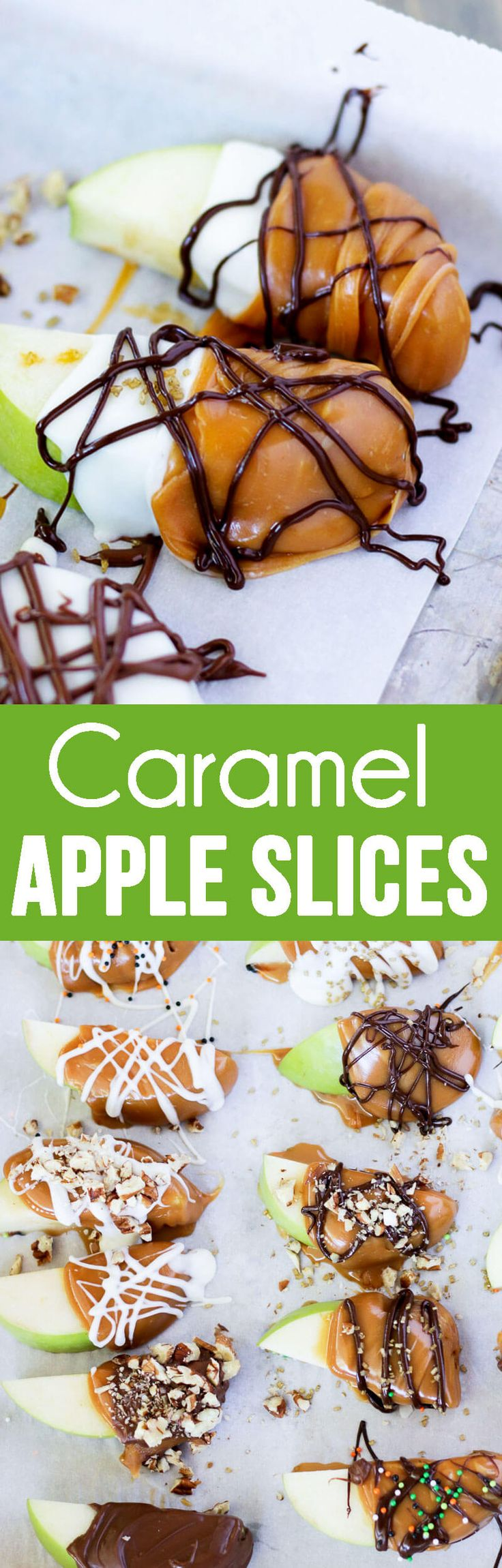 Caramel Apple Slices make eating caramel apples much less messy and much more fun!