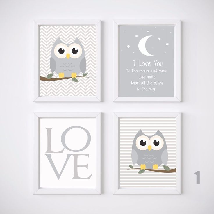Owl Nursery Prints Wall Art Kids Room Decor, 4 A4 Set  Baby Girl or Baby Boy