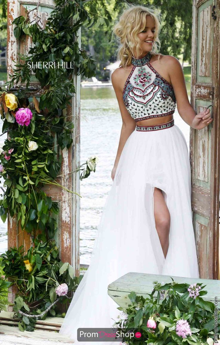 Sherri Hill Two Piece Halter Top Prom Dress 50075
