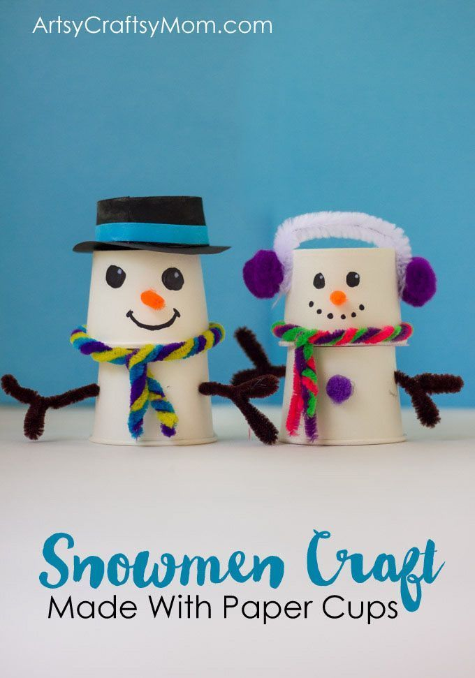 This absolutely adorable paper cup snowman craft is just what you need on your mantle to remind you of the winter and coming holiday season! via /artsycraftsymom/