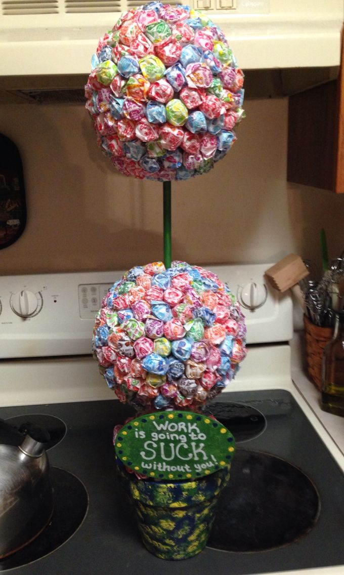 Lollipop Topiary for a co-worker leaving for a new job.