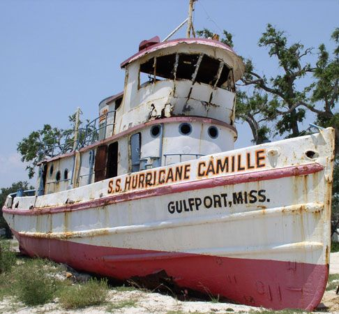 S.S. Hurricane Camille tugboat - Gulfport Mississippi. Washed ashore by Hurricane Camille in 1969 and had a gift shop built next to it. But Katrina came and demolished the gift shop and man demoilished the S.S. Hurricane Camille in 2008. This and the Biloxi Light house were my favorite things to see and in the case of the boat, climb through. So sad.