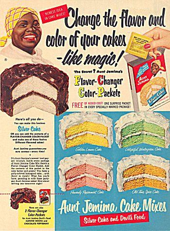Aunt Jemima CAKE mix ad original vintage. I met Aunt Jemima at Disneyland in the late 50's!