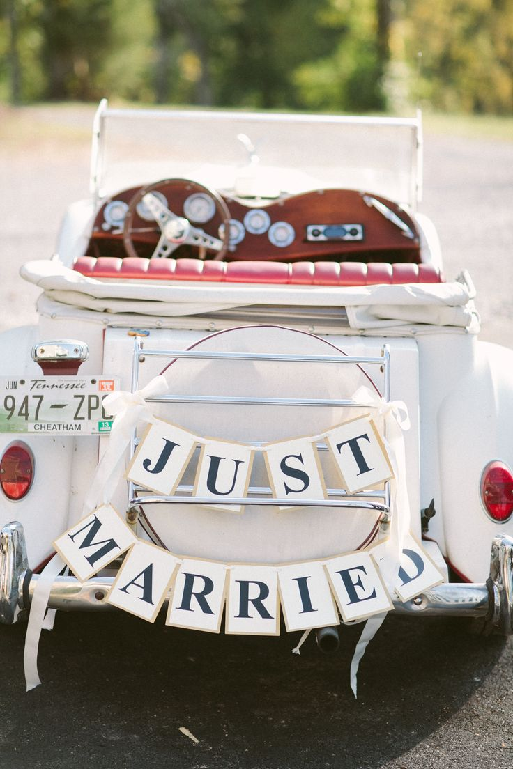 Just Married sign. So cute! Rustic elegance. Sacks Productions.