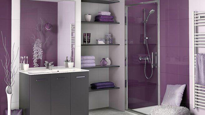 Salle de bains violet gris