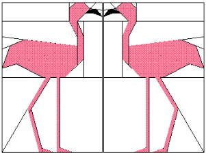 Free Flamingo paper piecing pattern (fourndation piecing)