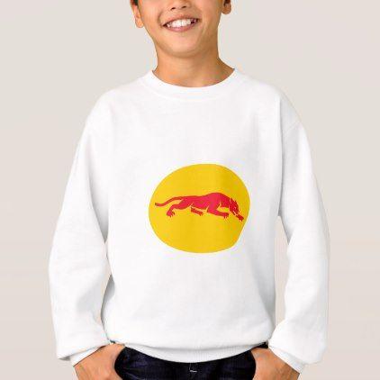 Panther Crouching Oval Retro Sweatshirt - retro clothing outfits vintage style custom