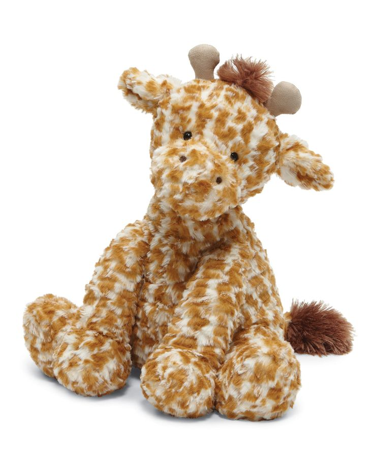 "Jellycat ""Fuddlewuddle"" giraffe plush toy, covered in beautiful blots, features two soft horns. Extra-soft and cuddle-ready, complete with fringy mane and tail. Plastic pellet fill keeps animal sittin"