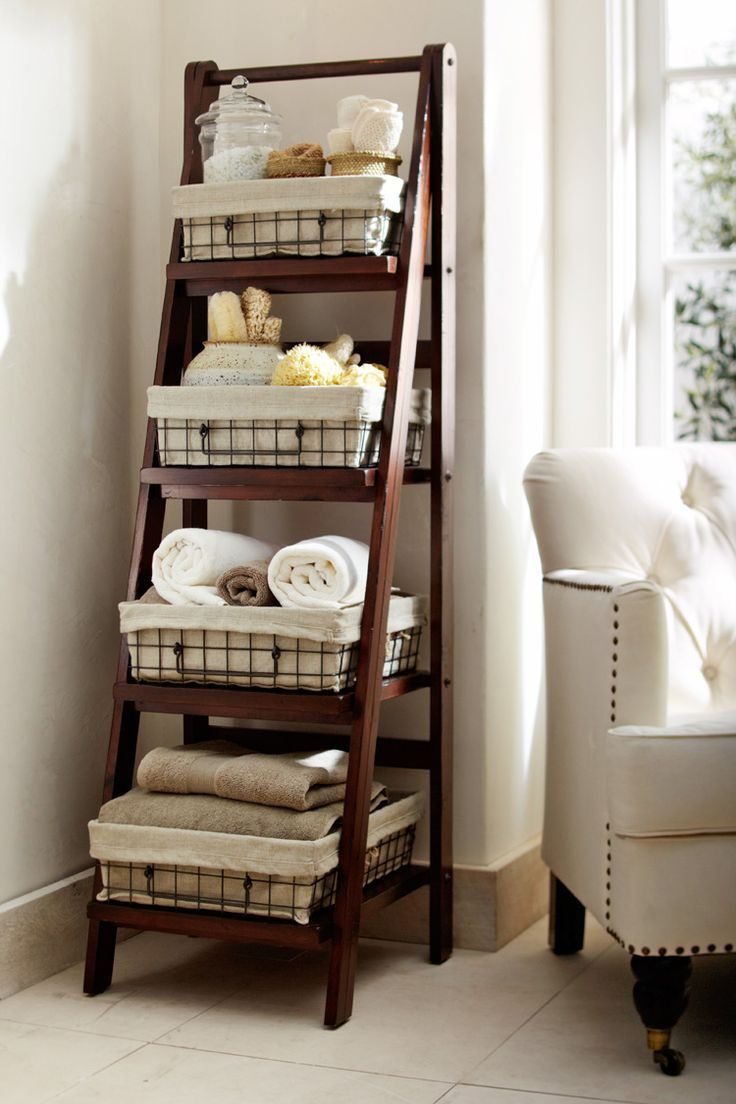 Pottery Barn – ladder shelving for Bathroom.   Love this as a compromise for less expensive bathroom/linen storage. (EOR)