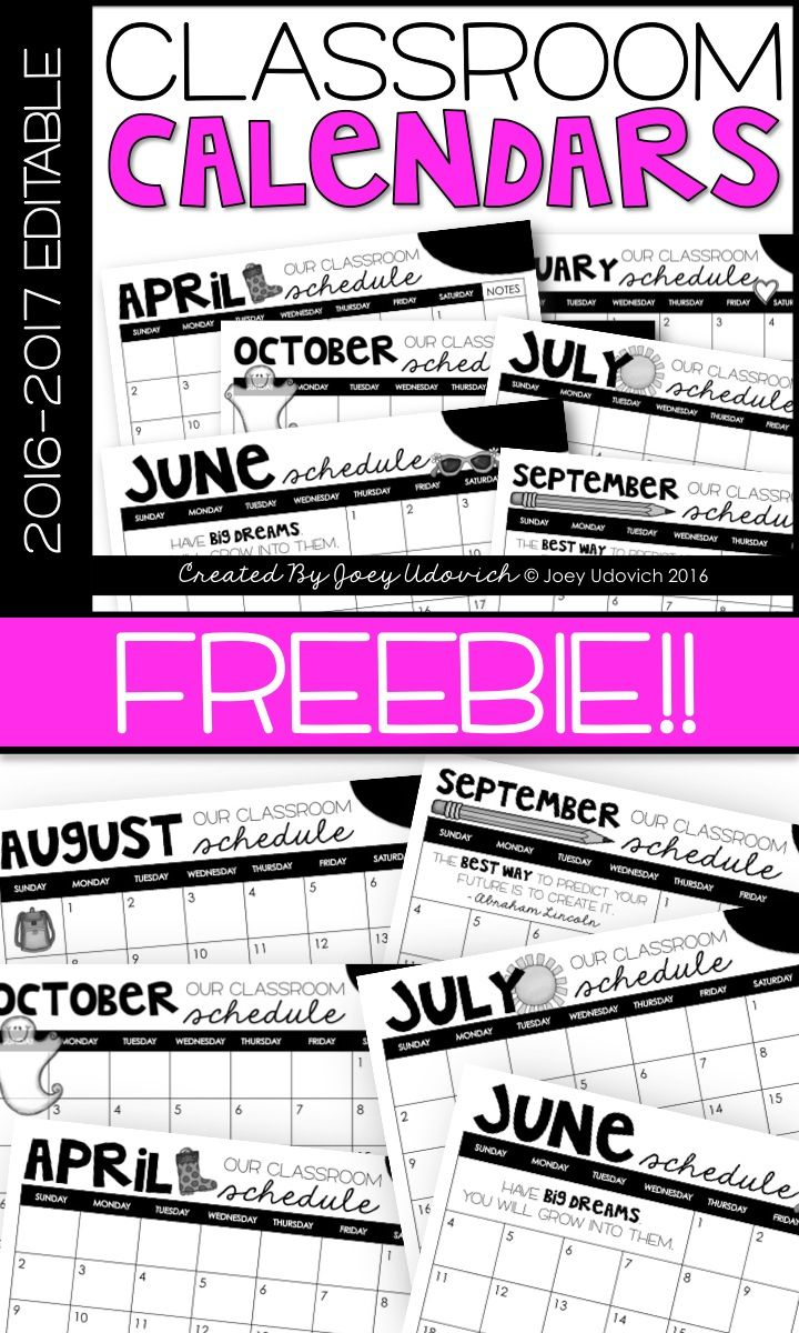 FREEBIE!! Editable calendars to help your classroom run smoothly this year...for FREE! Offered in both editable Power Points and non-editable print-and-go PDFs. Enjoy!
