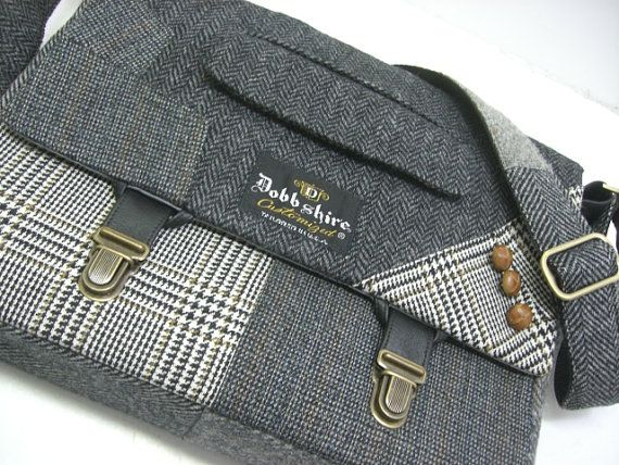 Handmade messenger bag made from an old suit coat. Awesome!
