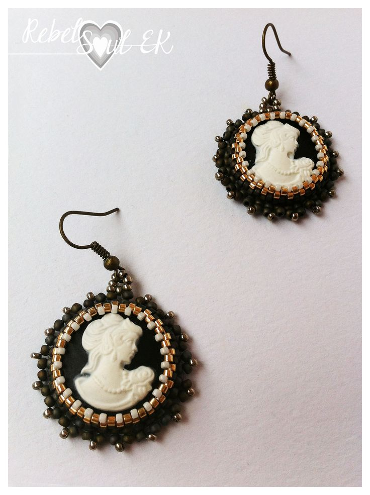 "Earrings ""Madam"" Made of: Acrylic cabochon, japanese seed beads, brass tone findings. #embroidery #earrings #cameo #handmade #rebelsoulek"
