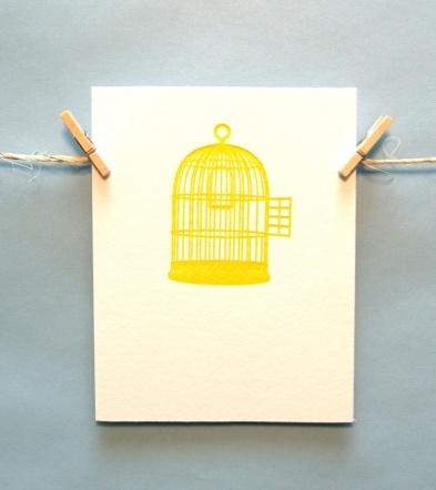Happy yellow birdcage