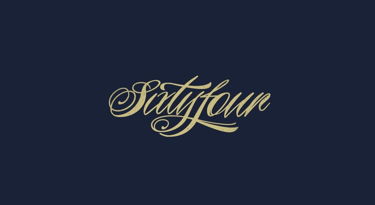Sixtyfour Logo in Piel Script  www.sudtipos.com