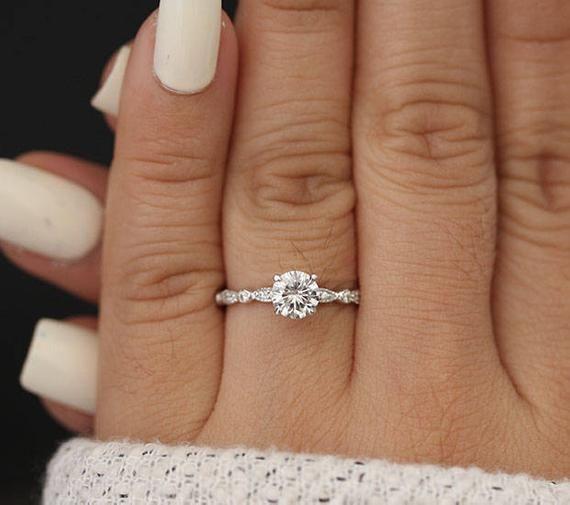 6mm Round Moissanite Forever Classic Engagement Ring, 14k White Gold Moissanite and Diamond Ring, Charles & Colvard Moissanite, Handmade