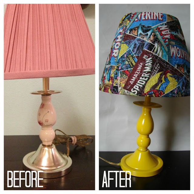 {just a $3 lamp from a thrift store, some spray paint and fabric!}  the power of DIY....a lamp redo tutorial - A girl and a glue gun