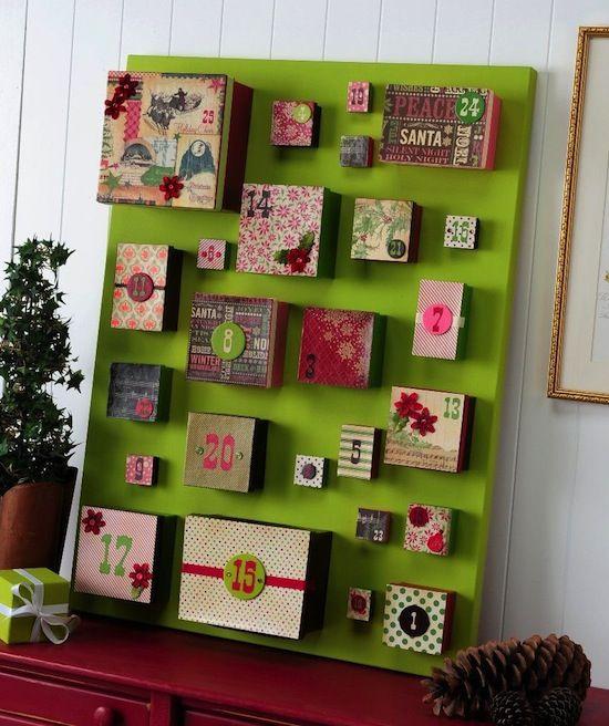 DIY Christmas advent calendar using boxes