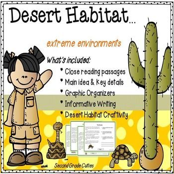 Desert Habitat: An Extreme Environment.    Engage your students with informational close reading passages all about the desert, writing pages/organizers, and a craftivity that is ready to go!  (This one is my favorite so far.)  Lots of rich topics and facts!What's included:1.