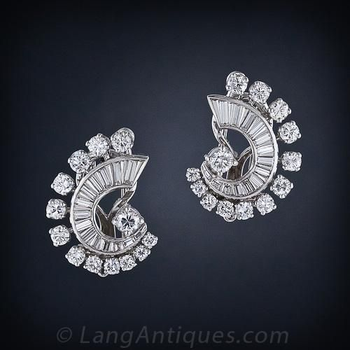 Mid-Century Diamond Earrings and Double Clip Combo
