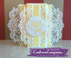 Panel Card made using Crafter's Companion Die'sire Create-A-Card Decorative Die Charlotte. Designed by Angela Clerehugh #crafterscompanion