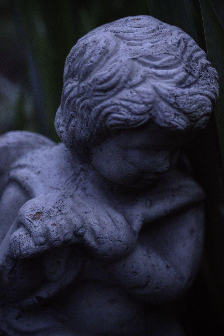 angel, garden and dusk