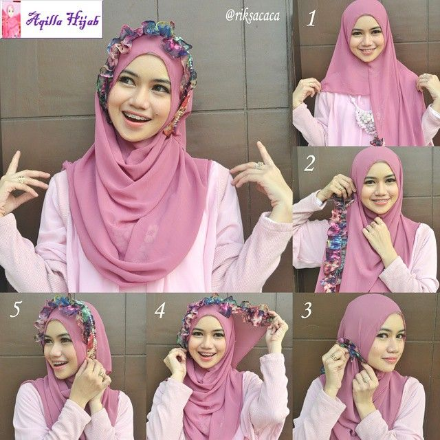 Beautiful flower crown made out of fabric and beautifully styling the hijab, to get this done, you need a hijab with a folded colorful side as the one you can see below 1. Place the hijab on your head with long…
