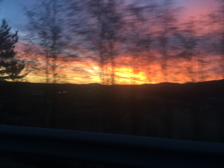 The sunset view from the bus