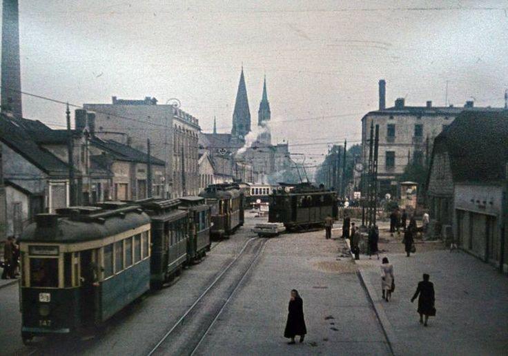Łódzkie tramwaje na kolorowych zdjęciach z 1943 roku [ZDJĘCIA]