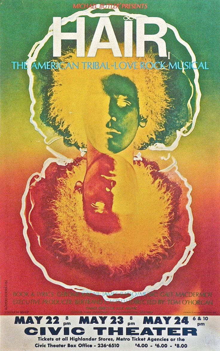 Poster for Hair – The American Tribal-Love Rock Musical, 1968. Photograph by Ruspoli-Rodriguez, Natoma Productions. Via PoulWebb