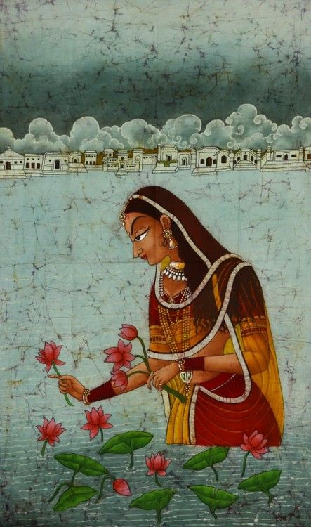 The Lotus Reaper Here is seen a beautiful maiden plucking lotus flowers. She slightly tilts forward in a rhthymic linear movement of her body. This portrait is painted in the typical style of the Kishangarh school of Indian miniature painting. Kishangarh itself is a small town in Rajasthan, approx. one hundred kms. from Jaipur. She is portrayed here with an elongated face, arched eyebrows, lotus-like eyes tinged with pink, a sharp nose and a pointed chin. Obviously, it is an idealizatio