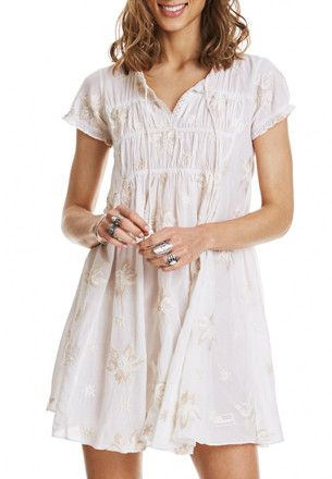 Cream/White Embroidered Dress