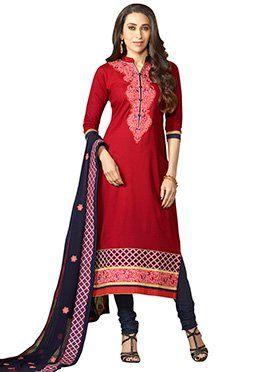 Karisma Kapoor Red Straight Suit