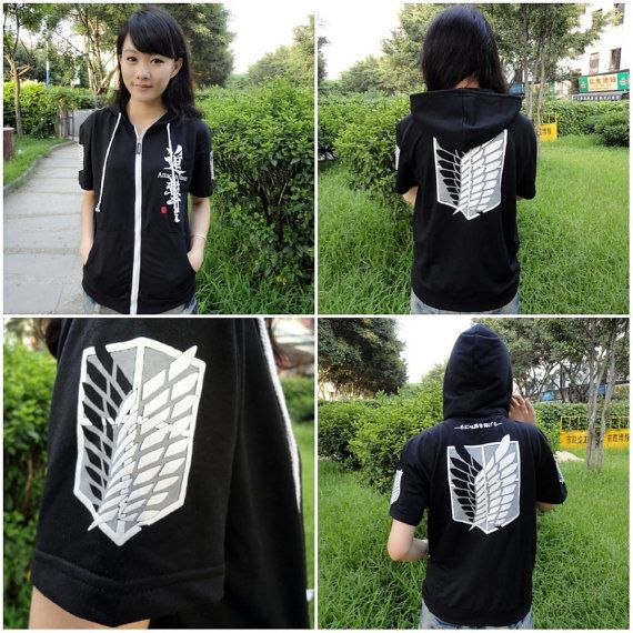 Attack On Titan Recon Corps Black Hooded Sweatshirt T-Shirt Cosplay Hoodie or Shortpants