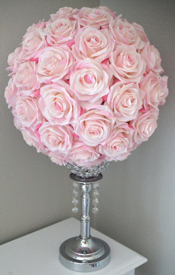 Pink BLUSH Kissing Ball. Flower Ball. Pomander. by KimeeKouture