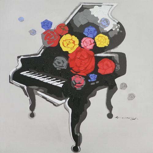 Flower Piano (120x120)  Fargerikt Piano bilde malt på lerret. Mål: Bredde 120 cm Høyde 120 cm