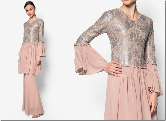 chiffon-lace-ruffle-pink-kurung / 7 Modern Baju Kurung Ideas To Wear Come Eid 2016