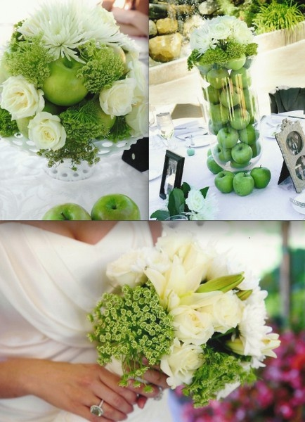 green wedding... check out the apples in the flowers.
