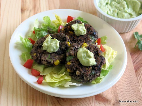 Black Bean Cakes with Avocado Cream Sauce | www.dinner-mom.com | #blackbeans #avocado