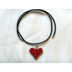 Wire & seed bead heart pendant on leather string