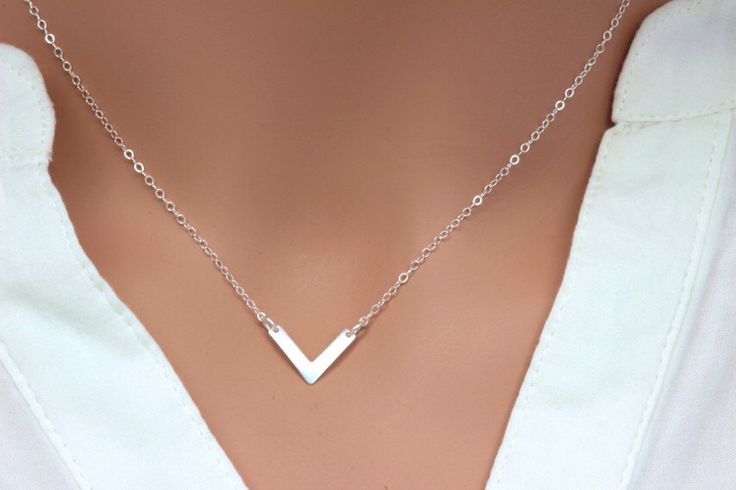 Sterling Silver Chevron Necklace, Layering Necklace, Dainty, Geometric, Simple V shape Necklace, Simple Silver Necklace, by rainbowearring on Etsy https://www.etsy.com/listing/210015946/sterling-silver-chevron-necklace