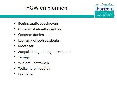 Training HGW: we bespreken de functie van plannen binnen HGW