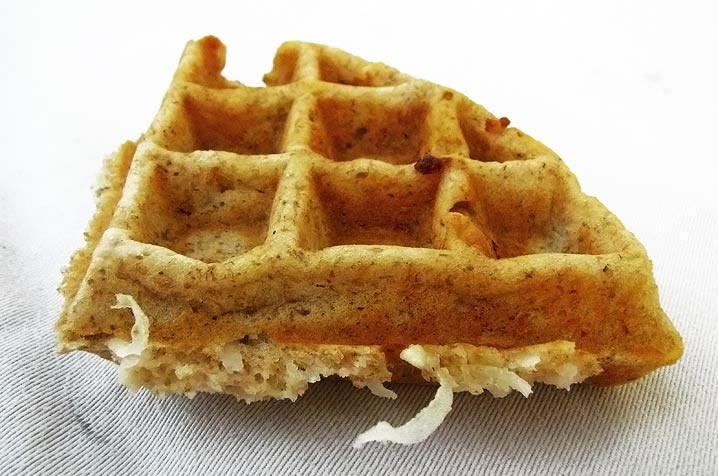 Whole wheat waffles with coconut and lemon