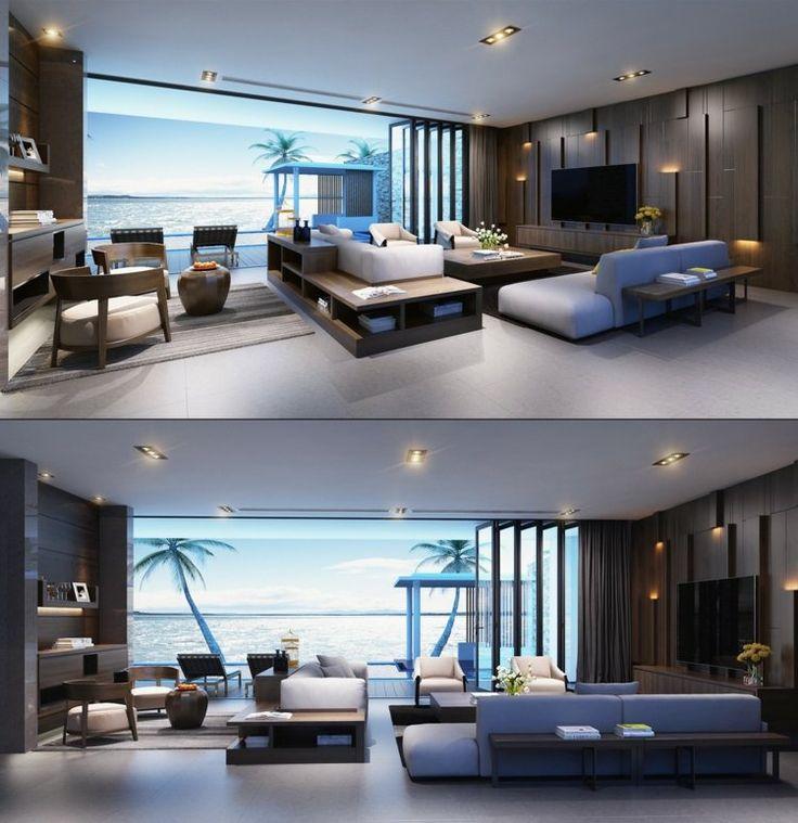 amnagement salon de luxe avec des canaps avec rangement systme de rangement mural en bois - Salon De Luxe